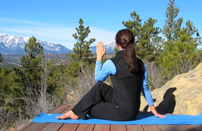 Half Spinal Twist yoga pose, Spanish Peak View, Colorad