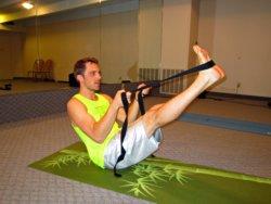 Boat Pose with Yoga Strap, Alex