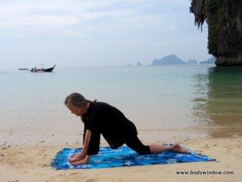 Yin Yoga, Dragon Flying Low, Pranang Beach, Railay, Thailand