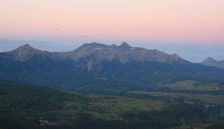 Sunrise over Wilson Peak Massive as seen from Dallas Peak, San Juan Mountains, Colorado