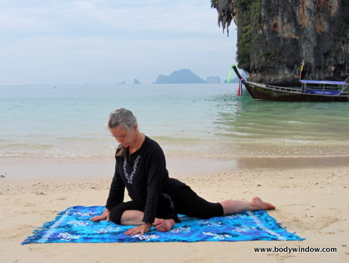 Pigeon Pose on Pranang Beach, Railay, Thailand
