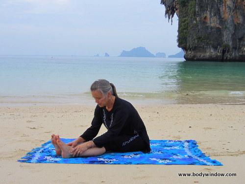 First Edge, Seated Forward Bend Pose, Pranang Beach, Railay, Thailand