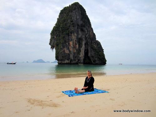 Sitting Pose Pranang Beach, Railay, Thailand
