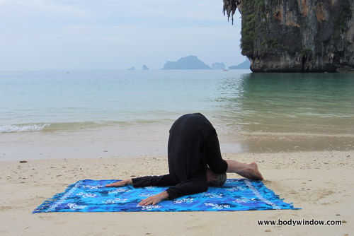 Yin Yoga's Snail Pose, Pranang Beach, Railay, Thailand