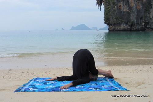 Yin Yoga's Snail Pose, Pranang Beach, Railay, Thailand