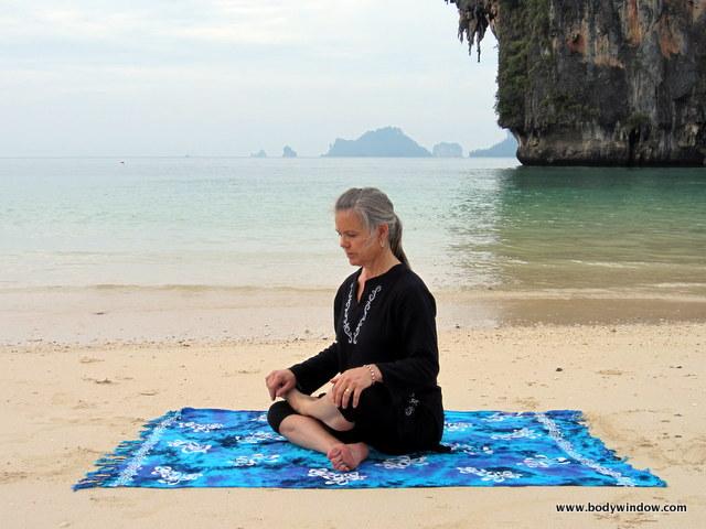 Yin Yoga, Square Pose, Starting Position, Pranang Beach, Railay, Thailand