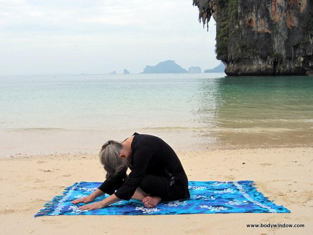Yin Yoga, Square Pose, Pranang Beach, Railay, Thailand