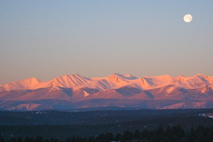 Alpenglow with Moonset, Sangre de Cristo Mtns, CO