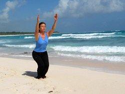 Yoga Chair Pose, Xpuha Beach, Playa del Carmen, Mexico