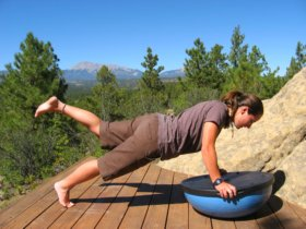 Bosu Ball, wobble side, plank position with a leg raised.