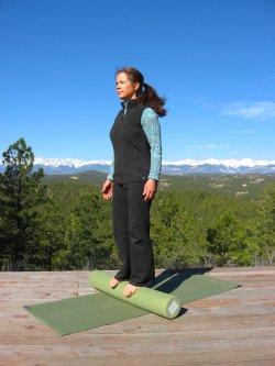 Standing balance on a foam roller