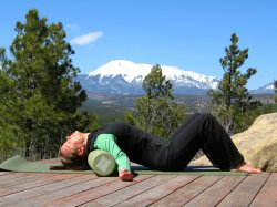 Shoulder stretch on foam roller, arms out to side.