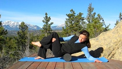 Foam Rolling Lower Back, Spanish Peaks View, Colorado