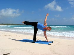 Yoga Half Moon Pose, Xpuha Beach, Playa del Carmen, Mexico