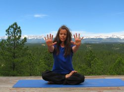 Hand Stretch with Finger Extension, view of Sangre de Cristo Mountains, Colorado
