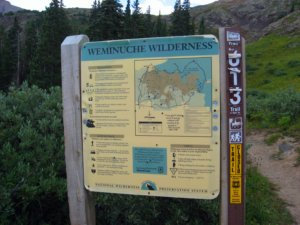 Sign post at Beartown, entrance to the Weminuche Wilderness, CO