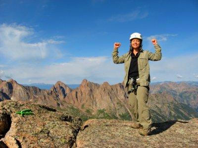 Elle on Jagged Mountain Summit, CO