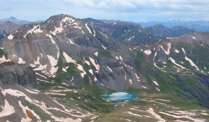 Ice Lake, seen from Vermillion Peak, near Telluride, CO