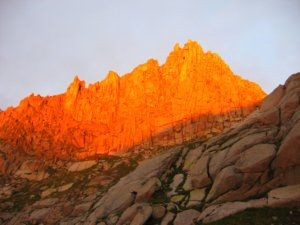 Jagged Mountain, East Face in the Alpenglow