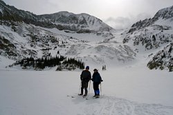 Cross country skiing on Lake Agnes in Colorado