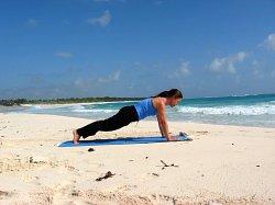 Yoga Plank Pose, Xpuha Beach, Playa del Carmen, Mexico