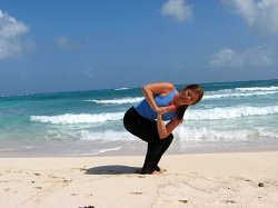 Yoga Revolved Fierce Pose, Xpuha Beach, Playa del Carmen, Mexico