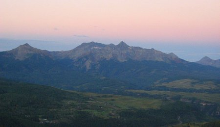 Sunrise over Wilson Peak Massive as seen from Dallas Peak, San Juan Mountains, Colorado