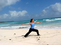 Yoga, Warrior II Pose, Xpuha Beach, Playa del Carmen, Mexico