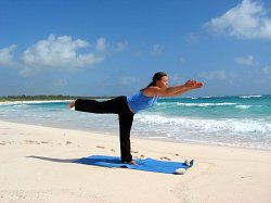 Yoga Warrior III Pose, Xpuha Beach, Playa del Carmen, Mexico