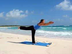Yoga Warrior III Pose, Xpuha Beach, Playa del Carmen, Mexico