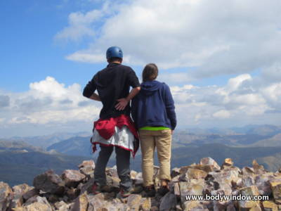 My stepson and his friend on Vestal Peak Summit