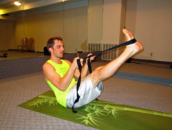 Boat Pose with Yoga Strap, Alex