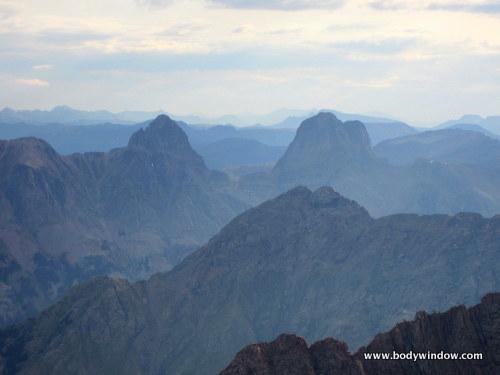 Arrow Peak and Vestal Peak from the summit of PIgeon Peak