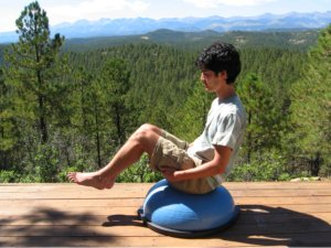 Brett, Sitting Boat Pose on the Bosu Ball