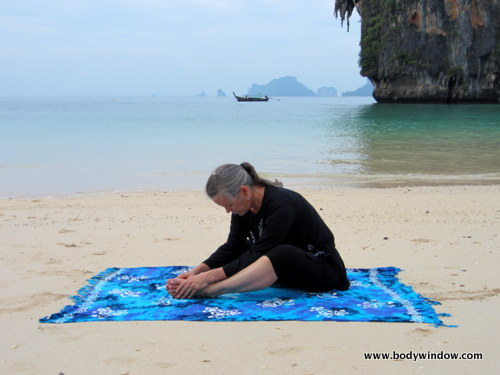 Initial Position, Yin Yoga, Butterfly Pose on Pranang Beach, Railay, Thailand