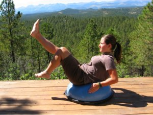 Boat Pose Variation on the Bosu Ball