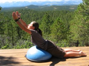 Modified Locust Pose on the Bosu Ball