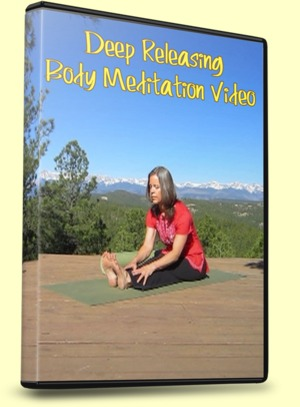Meditation, Deep Releasing, DVD Cover with the Sitting Forward Fold Pose