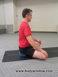 Easy Cross-Legged Pose with a Yoga Block