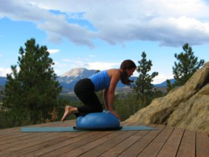 Bosu ball, kneeling with arms and legs on ball.