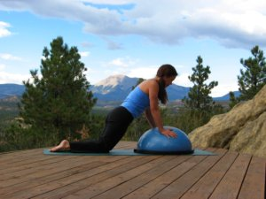 Bosu ball, modified plank position on knees.