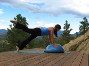 Bosu Ball, plank position, raise right leg.