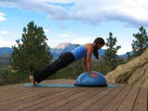 Bosu Ball, plank position