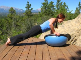 Bosu Balance Trainer, wobble side, plank position, side push-up, left.