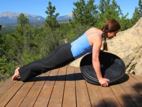 Bosu Balance Trainer, wobble side, plank position, side push-up, right.