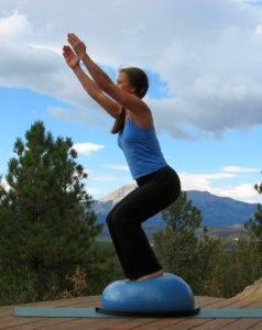 Yoga Fierce Pose, or Chair Pose on the Bosu Ball