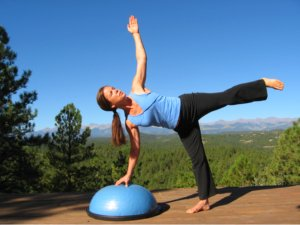 Yoga Half Moon Pose on the Bosu Balance Trainer.
