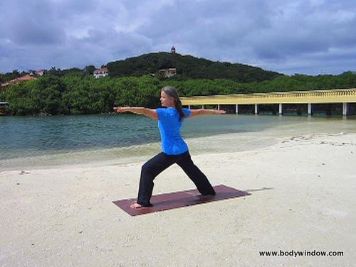 honduras, yoga pose warrior II