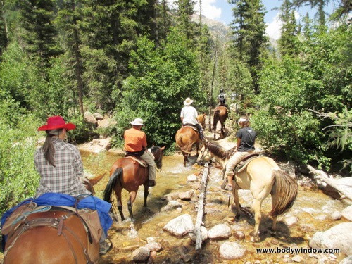 Johnson Creek Crossing in the San Juans, Colorado, on horses