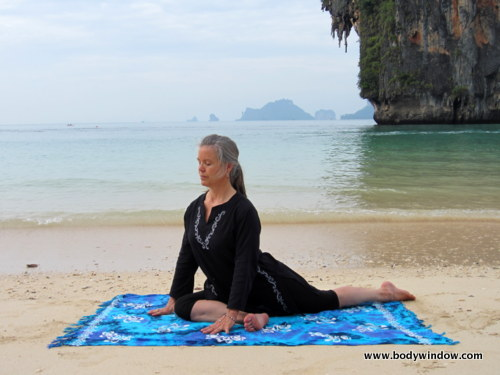 Pigeon Pose on Pranag Beach, Railey, Thailand